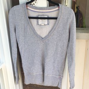 AE Gray Low VNeck Fitted Sweatshirt